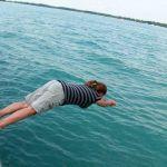 Kayla diving into Lake St. Clair
