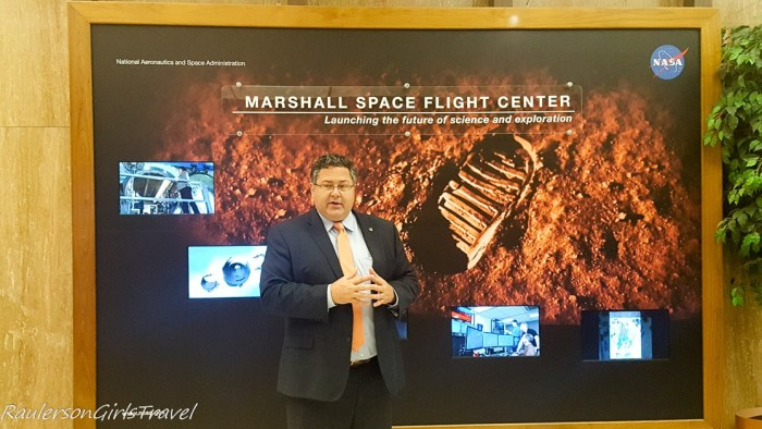 Todd May giving the introduction to the tour of Marshall Space Flight Center