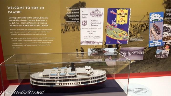 Bob-Lo boat display at Dossin Great Lakes Museum