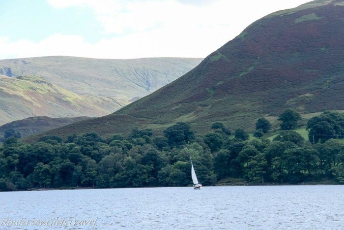Sailboat in Grassmere Lake in Ambleside, England