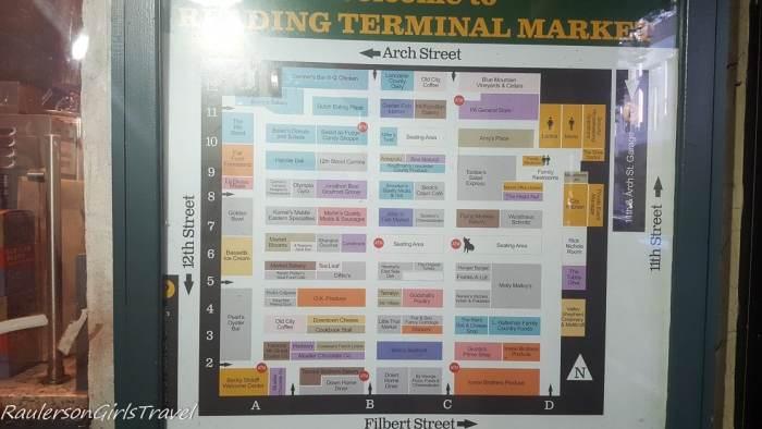 Map of Vendors in Reading Terminal market in Philadelphia