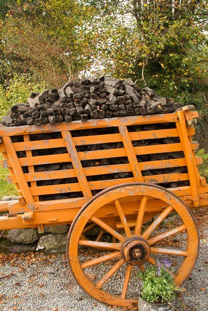 Dried Peat stored in a wagon outside Molly Gallivan's