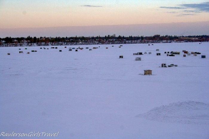 Ice Shanties on the Mississippi River in Bemidji, Minnesota