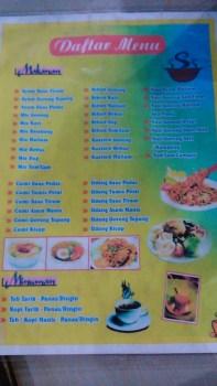 Menu Warung Sea Food Pak Cik