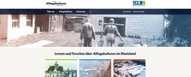 Screenshot der Startseite des Portals Alltagskulturen mit Bildern und Texten