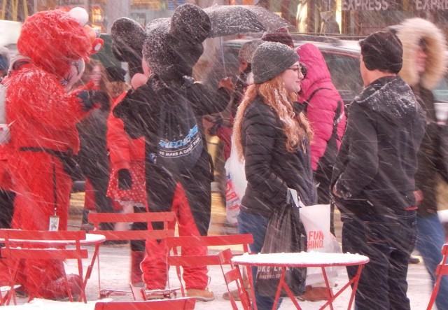 Mickey im Schnee in New York