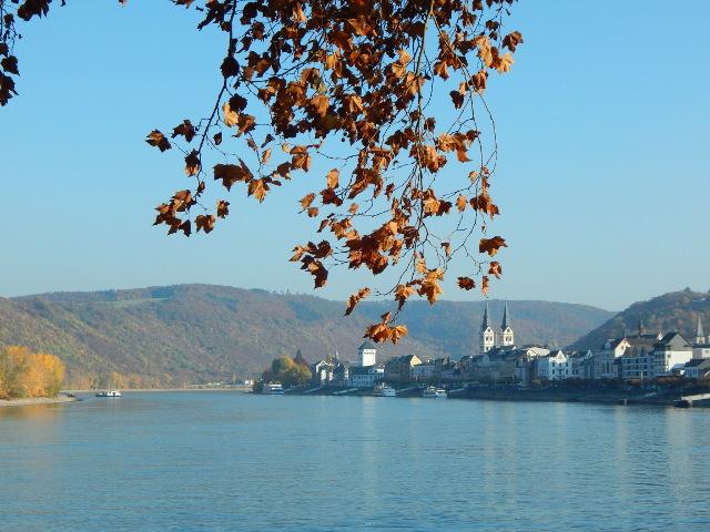 Blick auf Boppard am Rhein im Herbst.