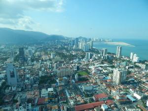 Blick auf George Town, Penang Malaysia Aussichtspunkte.