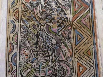 Pelican woodblock print