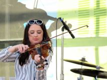 Fiddle player in all-girl Zydeco band
