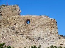 Here, you can see the faint outline of the horse's head drawn on the rock