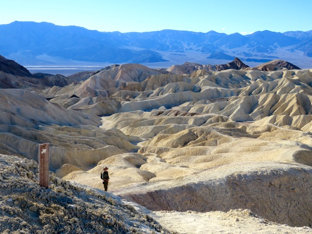 Heading down into the Badlands of Death Valley