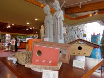 Birdhouses Frank Lloyd Wright style in the gift shop