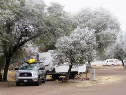 Frosty campsite in Davis Mountains State Park