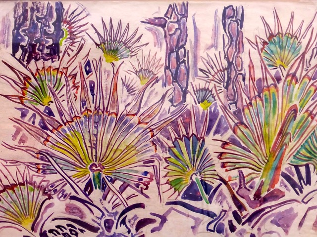 Typing paper painting of Horn Island palmettos