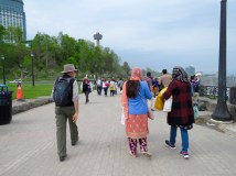 Sharing the Canadian path along the river with lots of other tourists