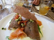 Smoked salmon crepes made from buckwheat