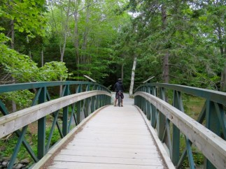 A bridge from the campground leads to Shubie Park trails