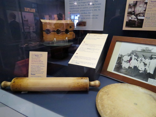 Wreckwood items made from the Titanic, including a rolling pin