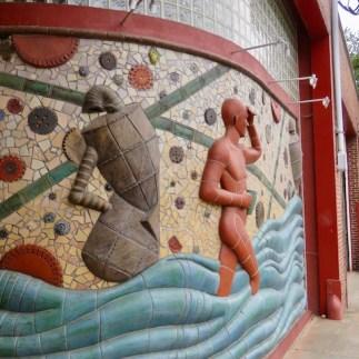 Ceramic mural in the River Arts District