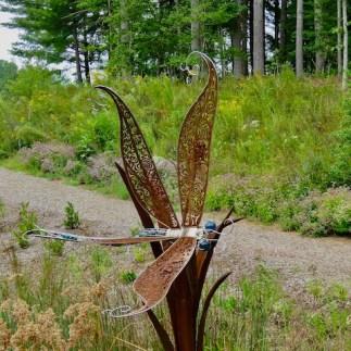 Dragonfly sculpture in the wetlands garden
