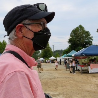 At the farmers' market (who is that masked man, LOL?)