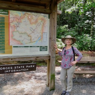 At the trailhead for all of the trails we hiked in Gorges State Park