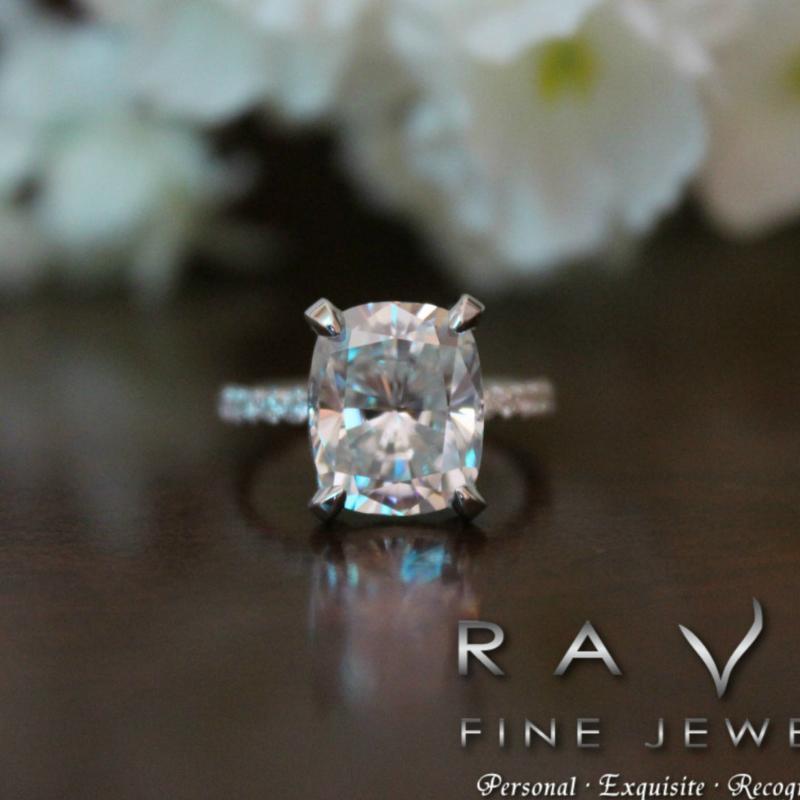 5 00 carat elongated cushion moissanite diamond hidden halo ring