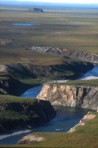 Firth River canyon with Engistiak in the background.