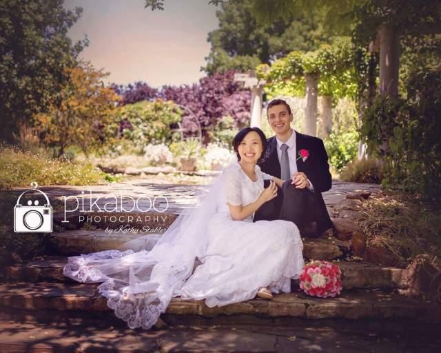 Wedding pose stairs