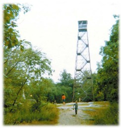 Photo circa 1972 of the Cross River Mountain Fire Tower
