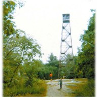 Photo taken in 1970 of the Aeromotor Company Model #LS-40 Fire Tower in the Ward Pound Ridge Reservation.