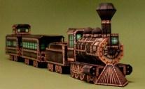 Papercraft imprimible y armable de un Tren Fantasma / Ghost Train. Manualidades a Raudales.