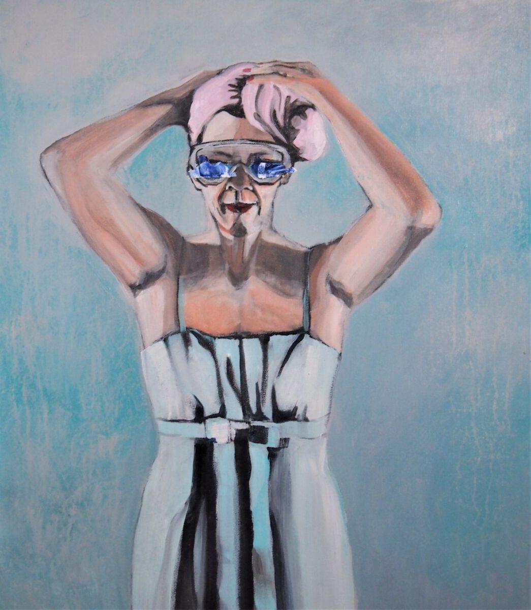 Alexandra Gebhart: Vor dem Sprung ins kalte Wasser. Acryl/Oel auf Leinwand 60x70