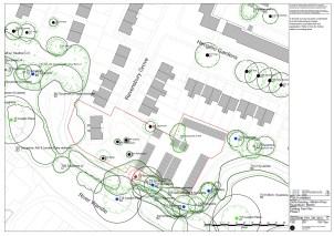 Ravensbury Garages - existing tree plan