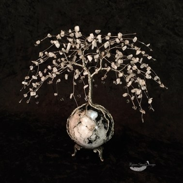 Winter Inspired Moonstone Tree of Life on Rainbow Moonstone Sphere Sculpture