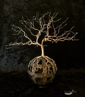 Viking Wire Tree on Metal Cage Sphere Sculpture