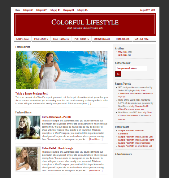 Wine Color style for LIfestyle WordPress child theme by StudioPress