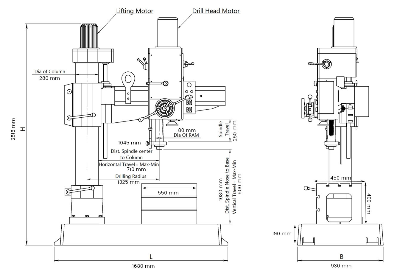 All Gear Radial Drill Machine 50 Mm