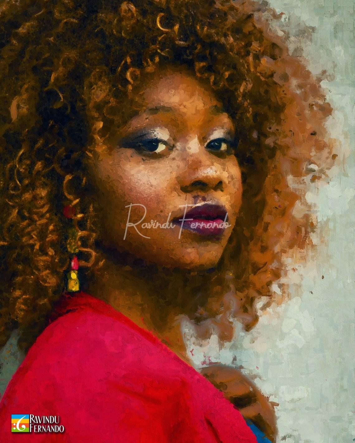 Noodls Hair Girl Digital Oil Painting by Ravindu Fernando