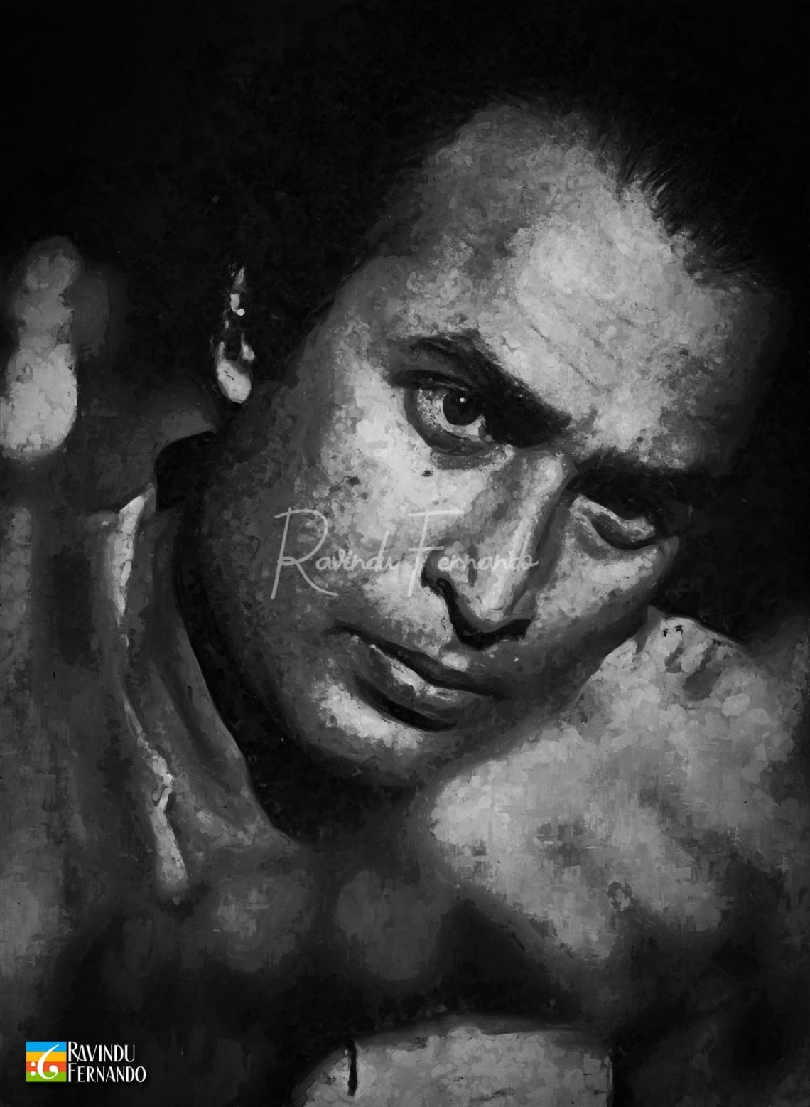 Gamini Fonseka Digital Oil Painting by Ravindu Fernando