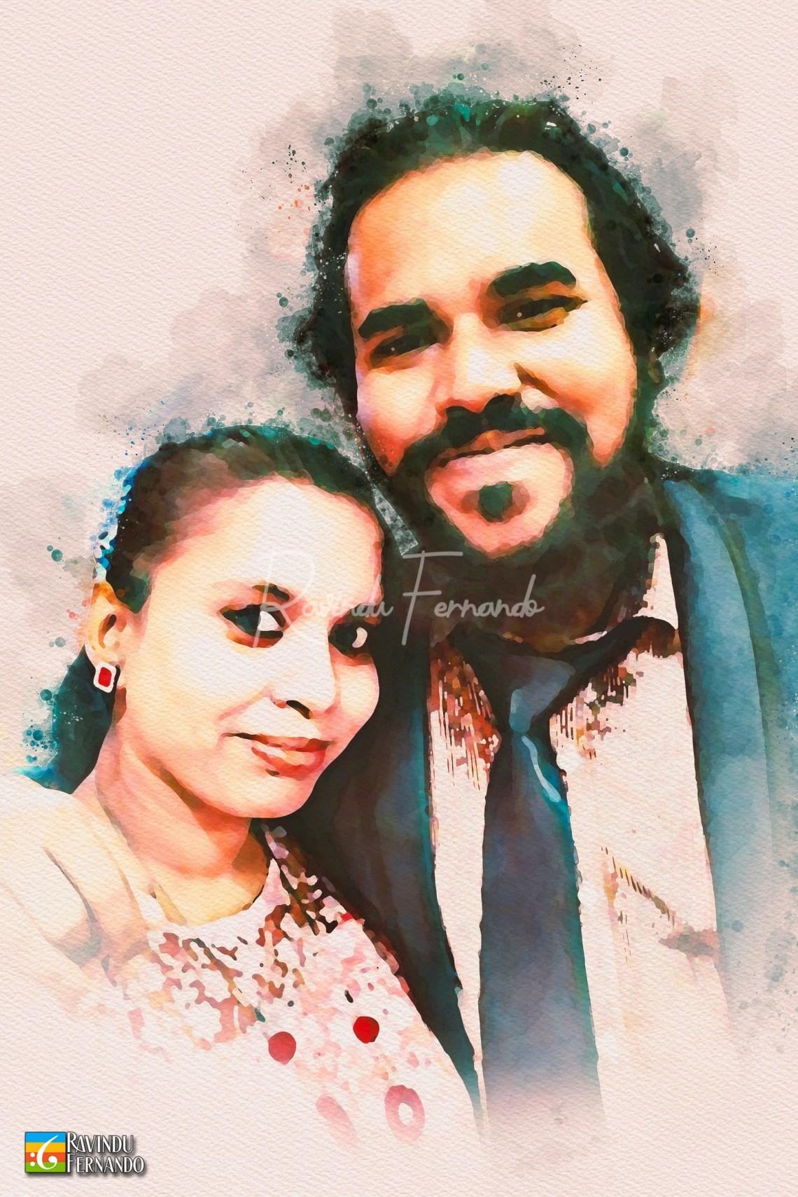Lahiru Shehan and his wife - Digital Watercolor Painting