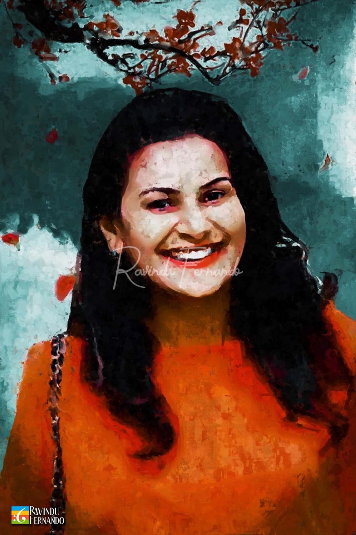 Iresha Lakmali Digital Oil Painting by Ravindu Fernando