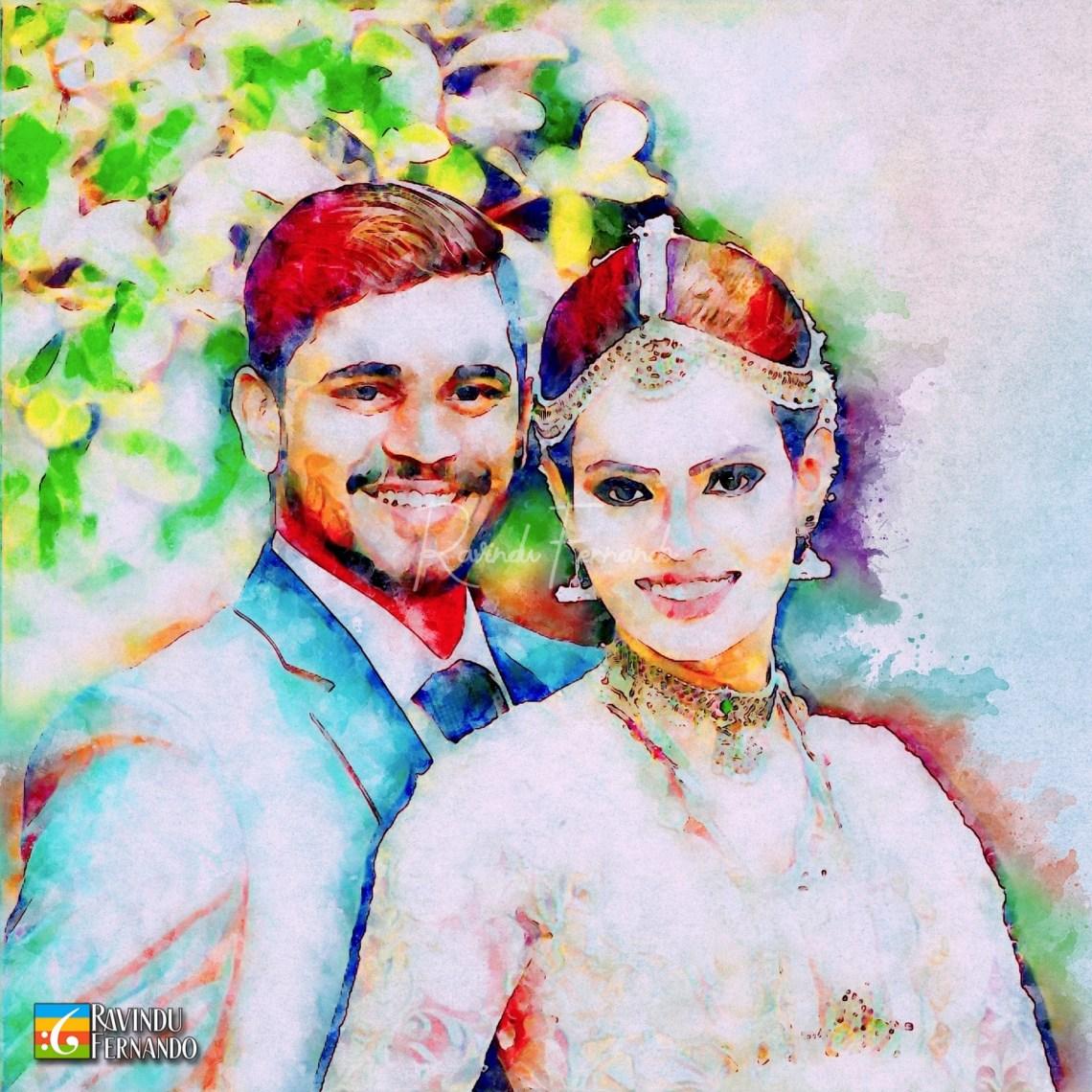 Wedding Couple - Digital Watercolor Painting