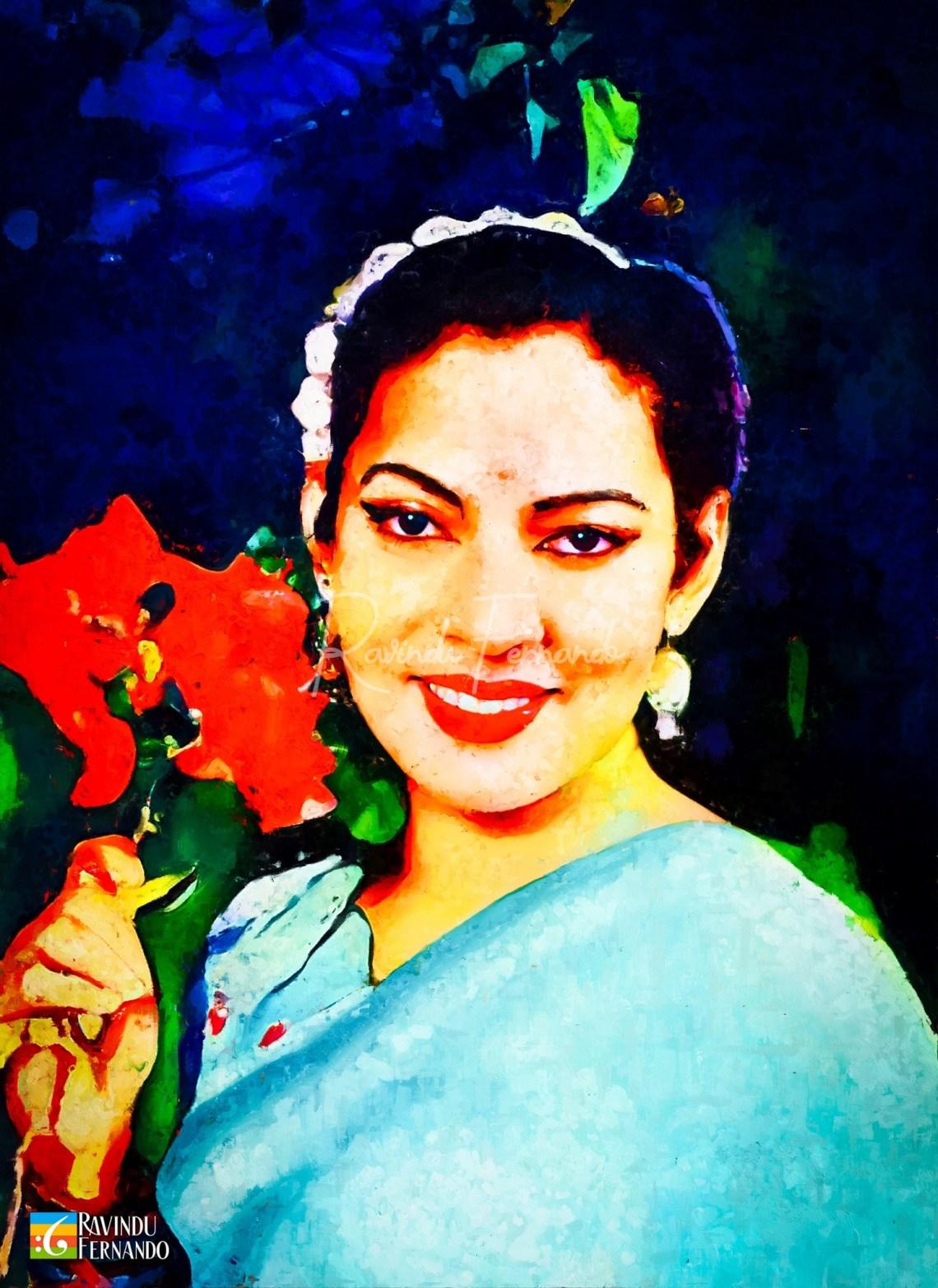 Rukmani Devi Digital Oil Painting by Ravindu Fernando