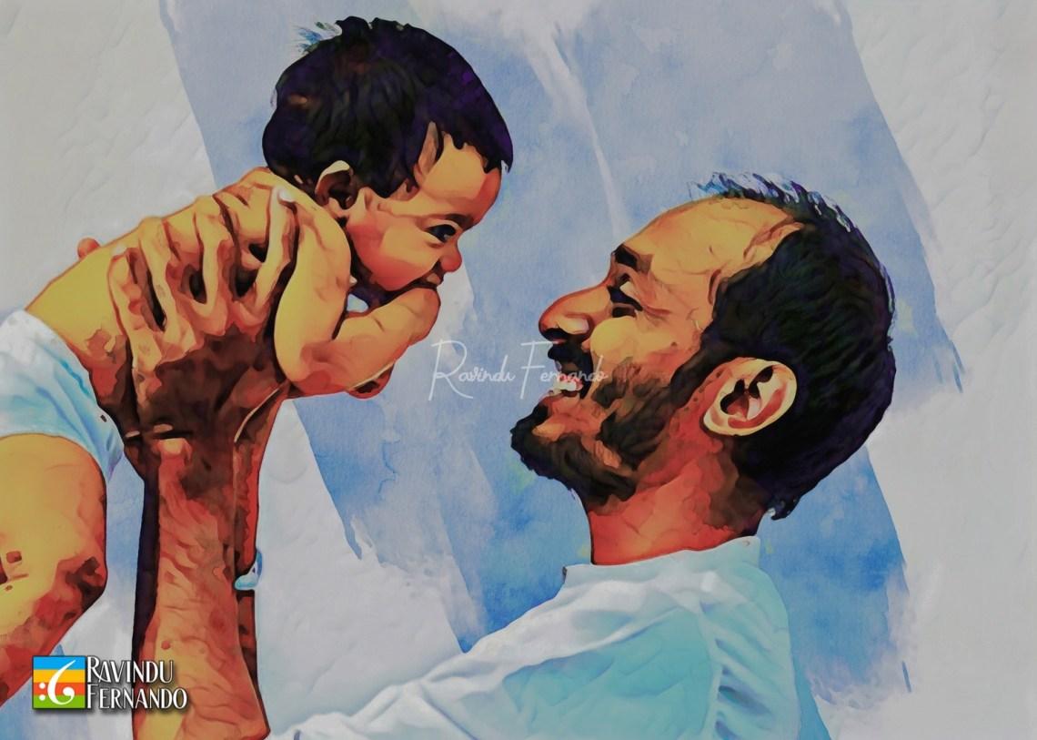 Dhanushka Ramanayake and his daughter - Digital Watercolor Painting