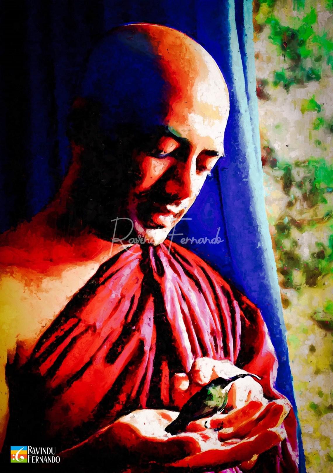 Bhante Sankichcha Digital Oil Painting by Ravindu Fernando