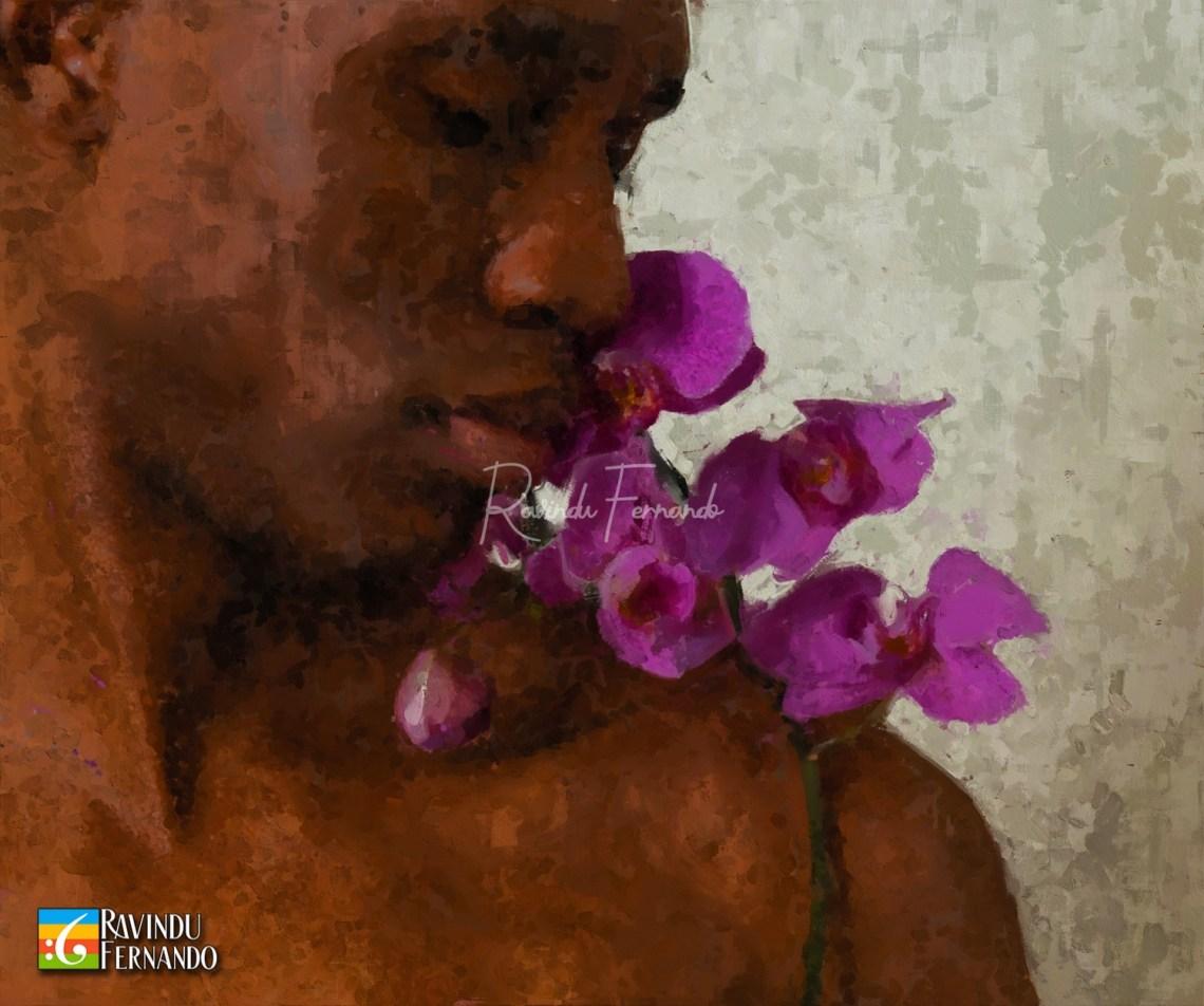 Black boy with orchid Digital Oil Painting by Ravindu Fernando