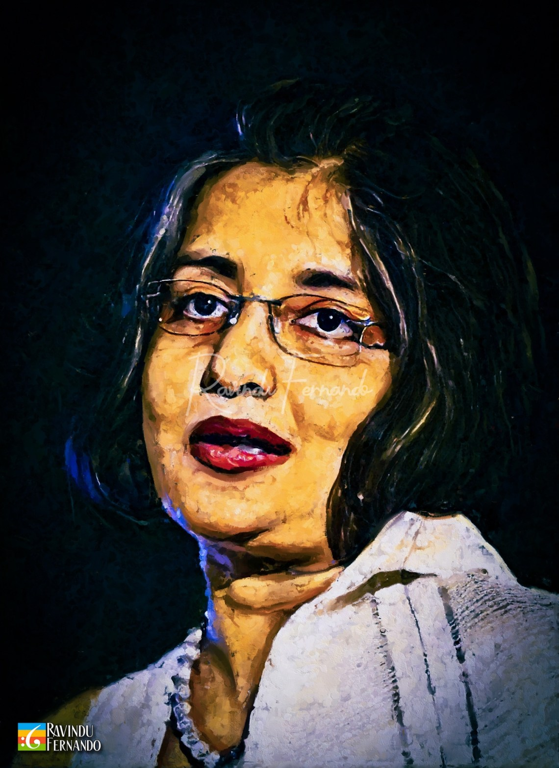 Maithri Wickramasinghe Digital Oil Painting by Ravindu Fernando