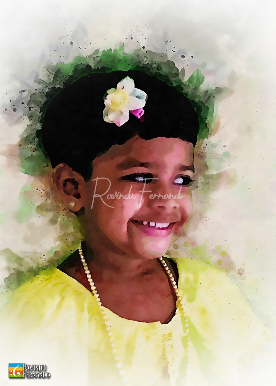Daughter - Digital Watercolor Painting